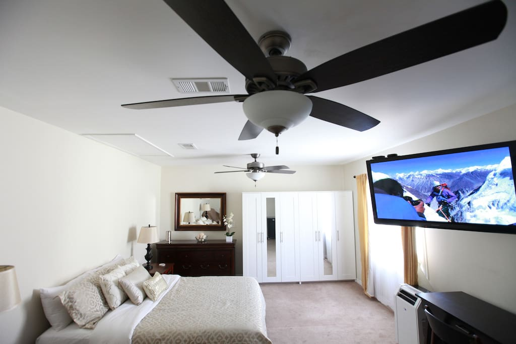 Two new 60 inch ceiling fans keep the room fresh and cool.
