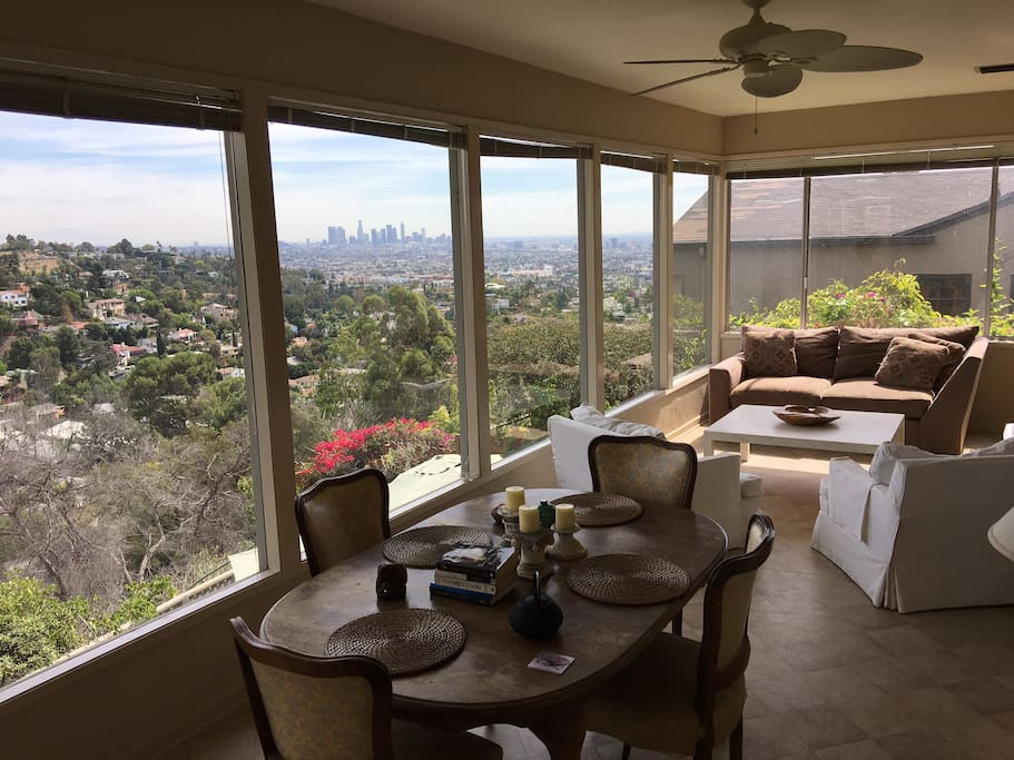 Sunroom with Fabulous view day and night of Hollywood Hills and Downtown Los Angeles