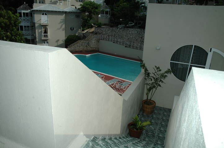 Steps away from the pool