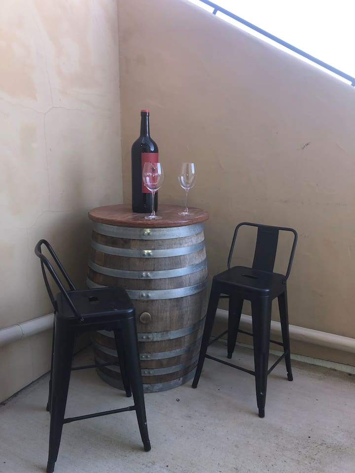 Relax  with your wine or coffee at your private outside pub table
