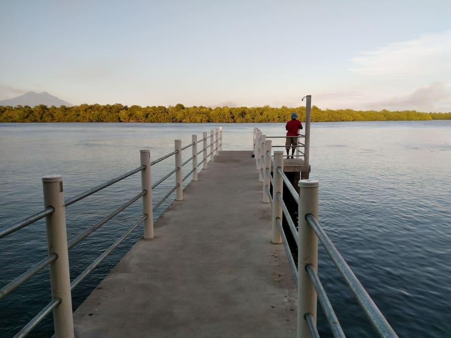Muelle con regadera en zona del estero, puedes nadar, pescar, usar tu bote inflable o simplemente disfrutar de la vista.