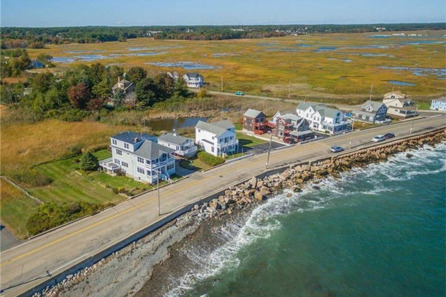 Right across from the water with unobstructed views of ocean. Views of the Marsh lands as well :)