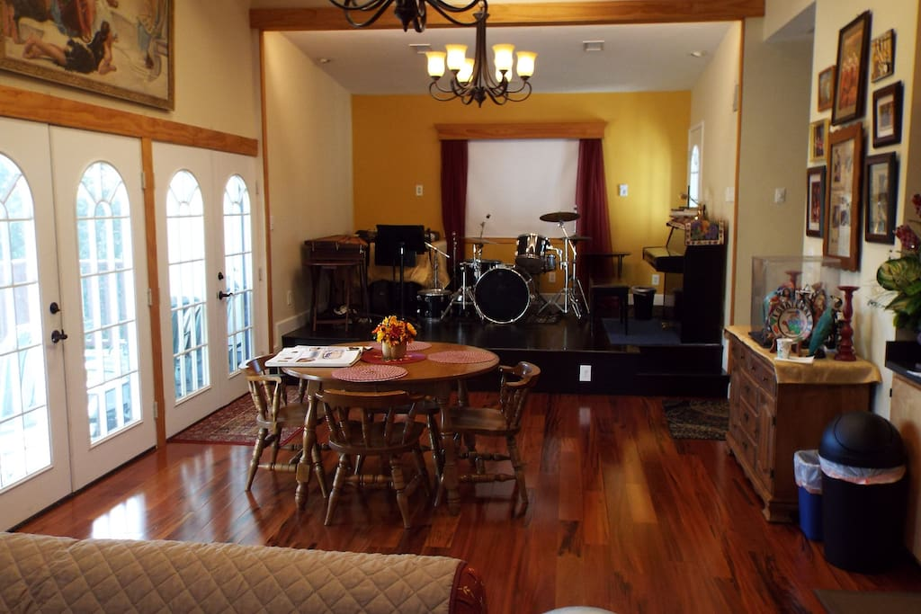 French Doors, Chandeliers, and Piano