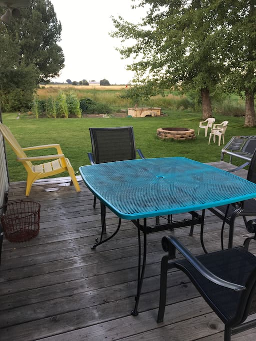 Deck with table and chairs for use