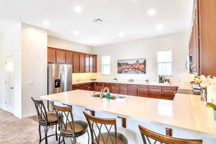 2nd Level: Gourmet Kitchen with Breakfast Bar, Quartz Counter Top