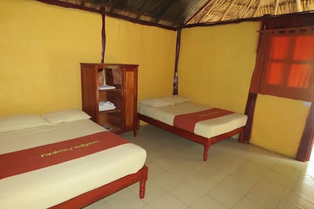 Twin room in a Mayan Ecotouristic paradise - Blockhütte