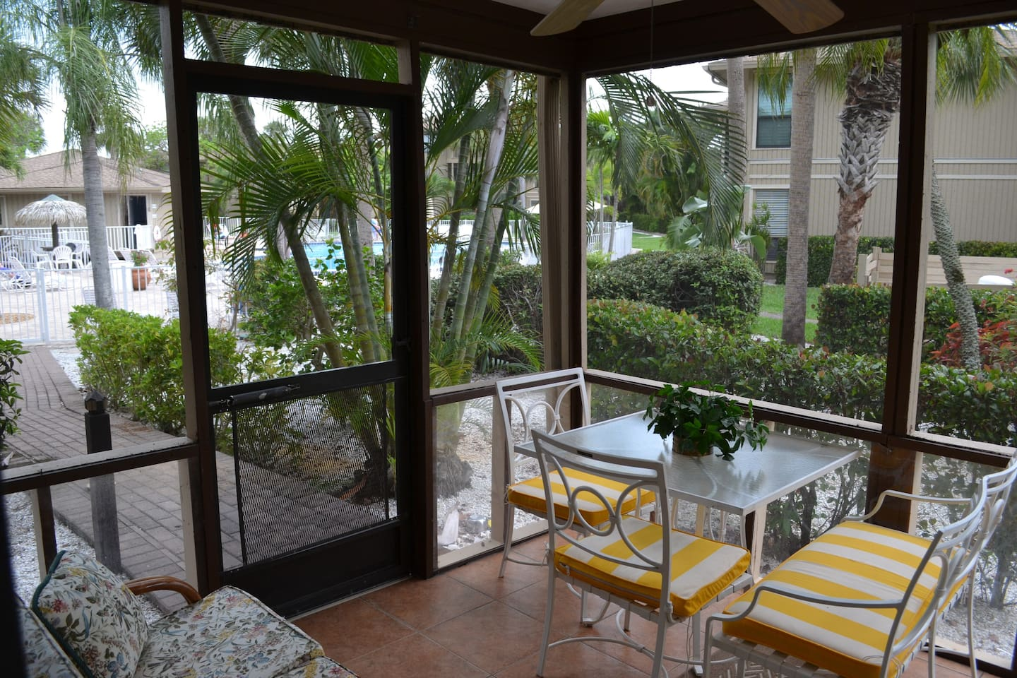 Lovely lanai adjacent to the pool