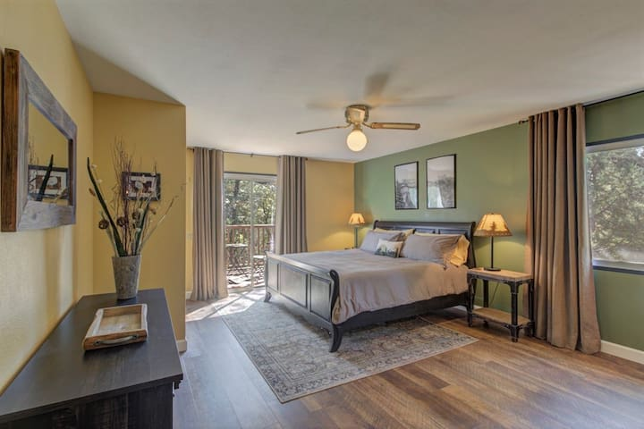 Large and airy master bedroom features a brand new King size mattress and plenty of luxurious pillows.