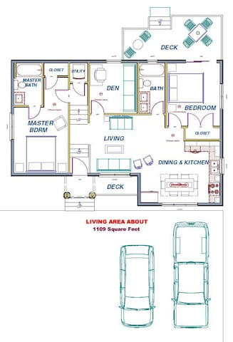 Drawings for Eglantyne House - wide parking, large deck, and spacious rooms;