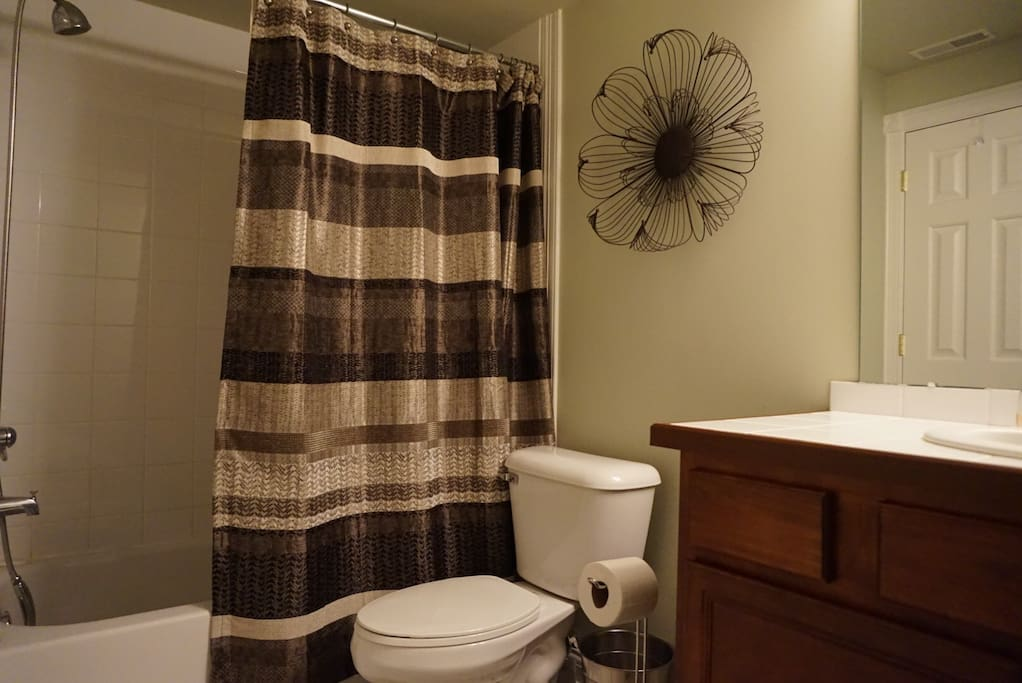 The private bathroom is located within the basement suite.
