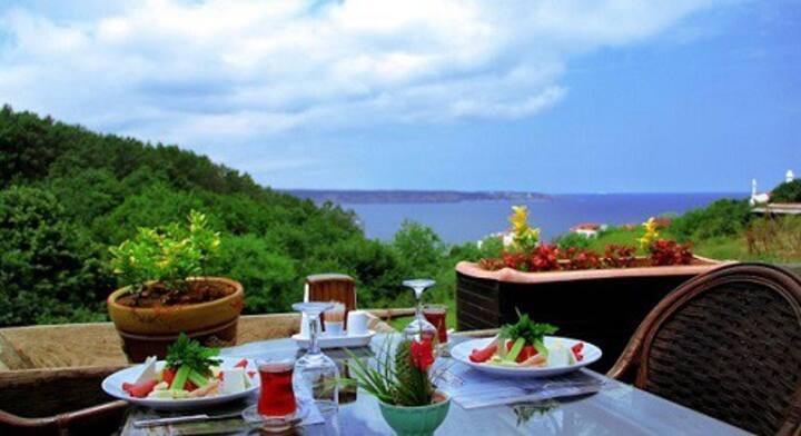 Beykoz bölgesinde bogaz, deniz ve doga manzarası