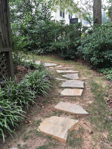 This is the pathway around the side of our house which leads to the deck.