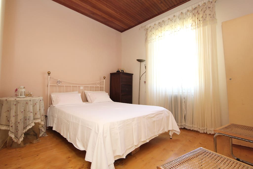 One bedroom with a double bed.