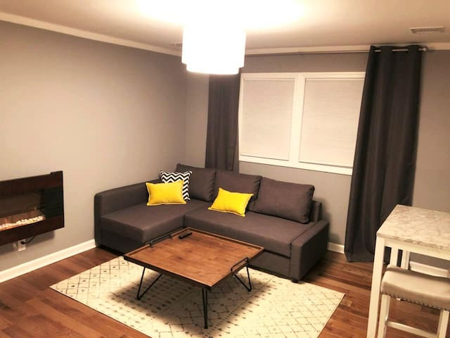 Living Room; Electronic Fireplace, Sofa becomes full size bed.
