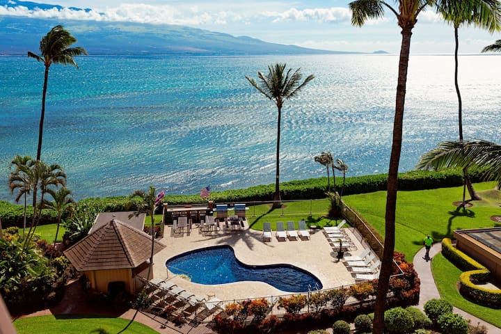 The oceanfront pool is shaped like the island of Maui.