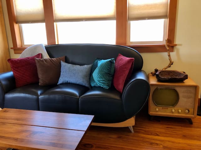 Living room couch with vintage television end table.