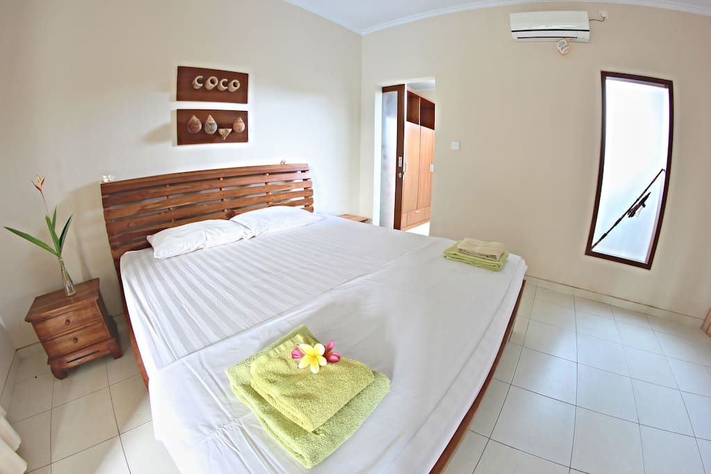 Coco bedroom in shared Chilli Bali villa