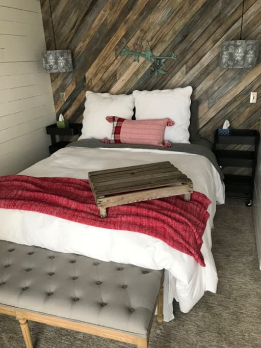 MASTER Retreat set for Christmas complete with FLANNEL sheets and DOWN comforter.