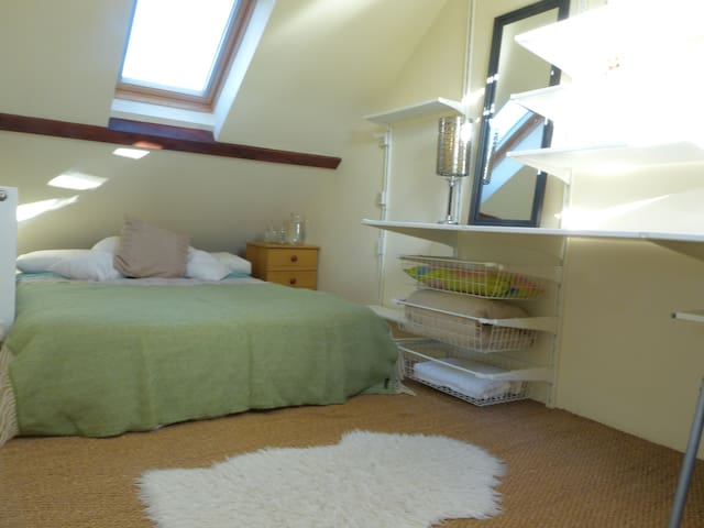 Bright Double Room in our Attic Flat with Tor View