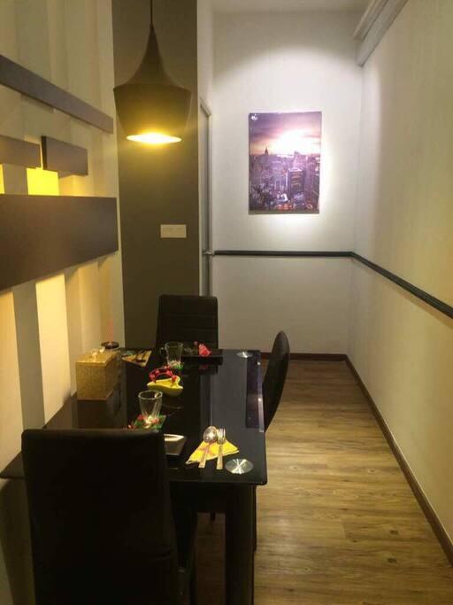 Simple minimalist living/dining area