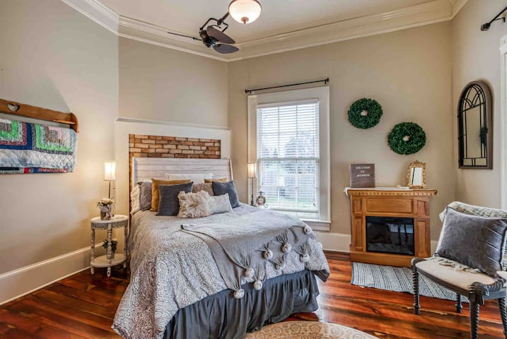 Bedroom with fireplace heater