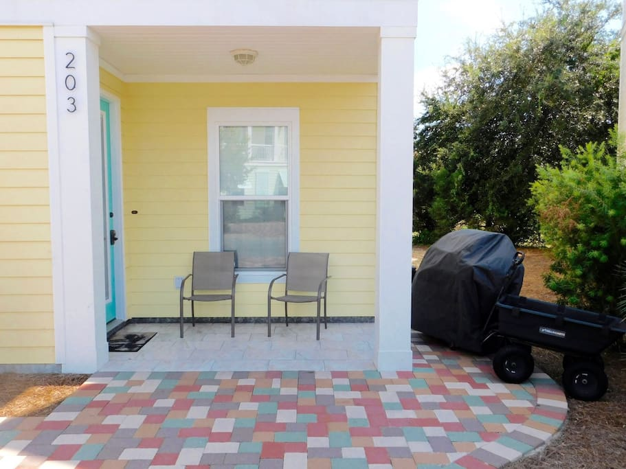 Seating by Front Porch with Grill and Beach Cart