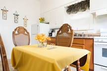 The dining area with the fully functioning kitchen are available for your use.