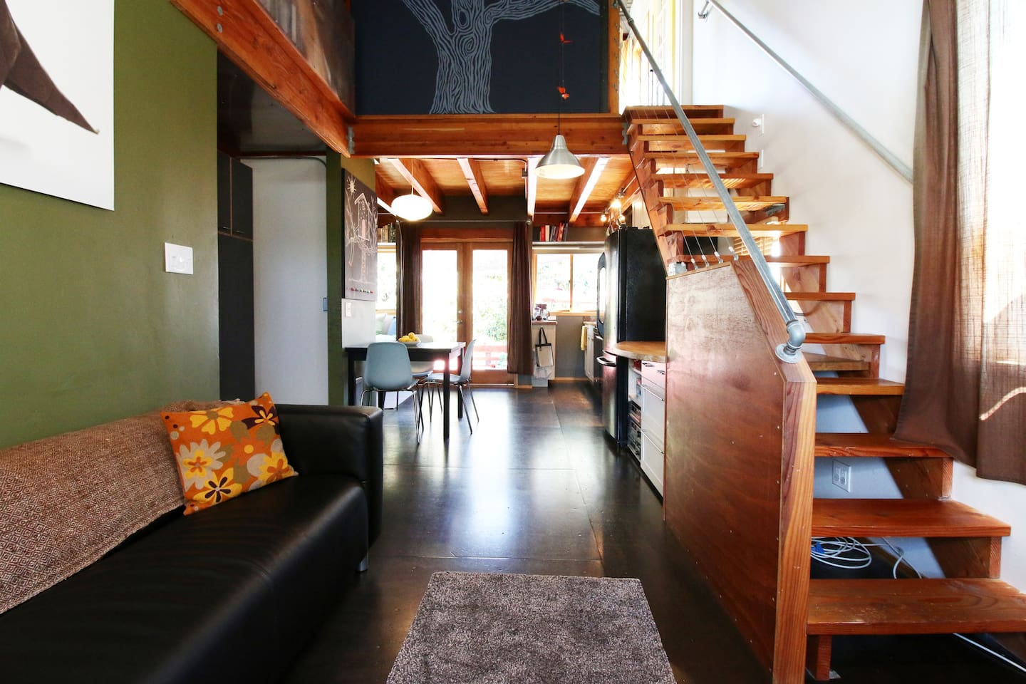 Stairs to bedroom  and guest nook.