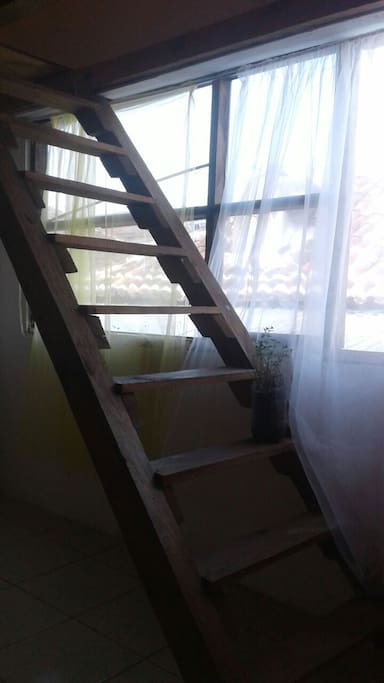Escalera hasta la cama individual