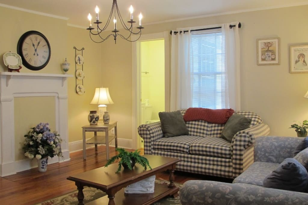 The living room is warm and inviting, where you can relax and mingle.