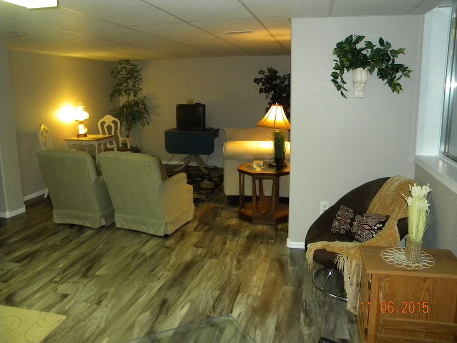 Spacious living area for relaxing, guests and extra sleep space if needed.