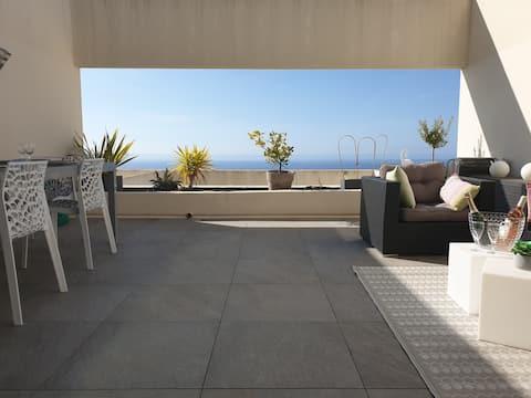 T2 moderne Terrasse vue mer panoramique