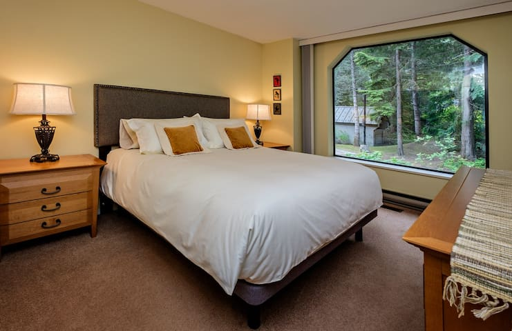 The Bedroom with queen bed. This bed has a down comforter and a good mattress, with individual pocket coils, ensuring you feel well rested when you get up in the morning. This room has a double closet.