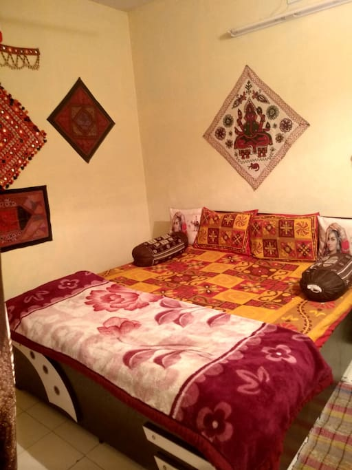 Walls decoration with different types of handicrafts.