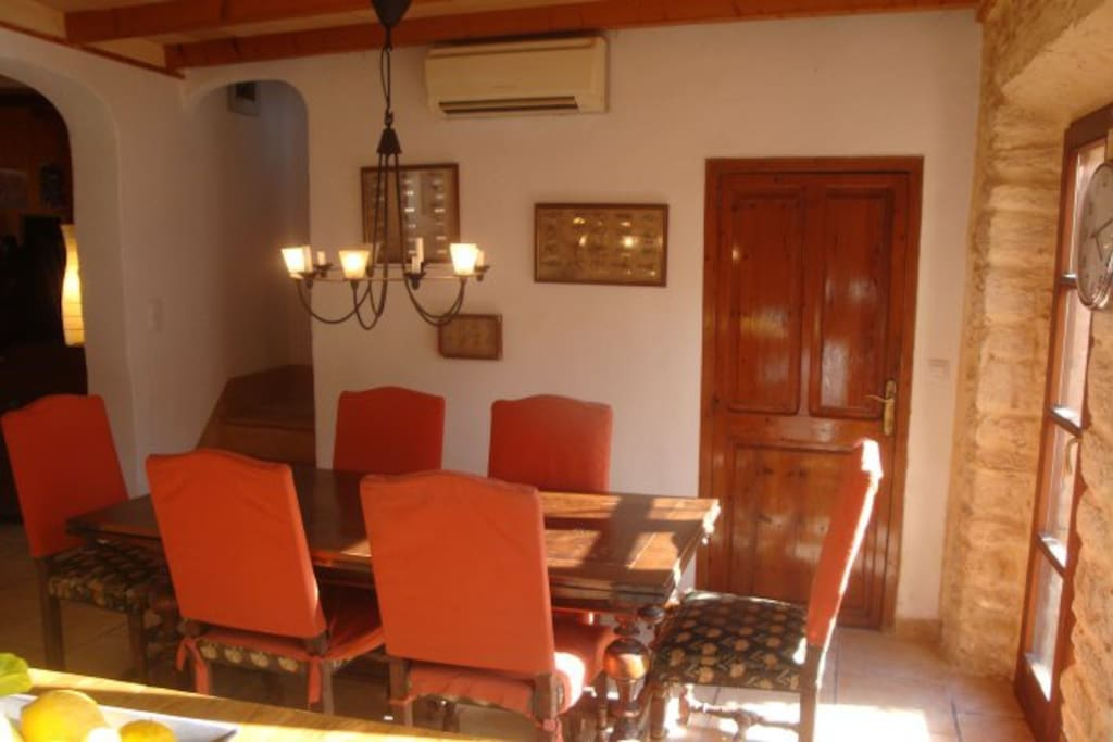 The inside dining room .