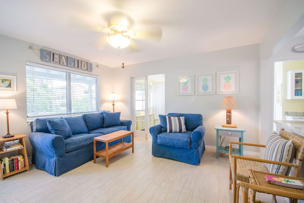 Living room with denim couch and chair