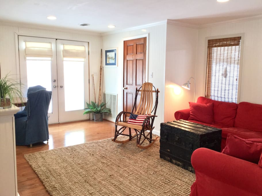 Open floor plan with kitchen and family room