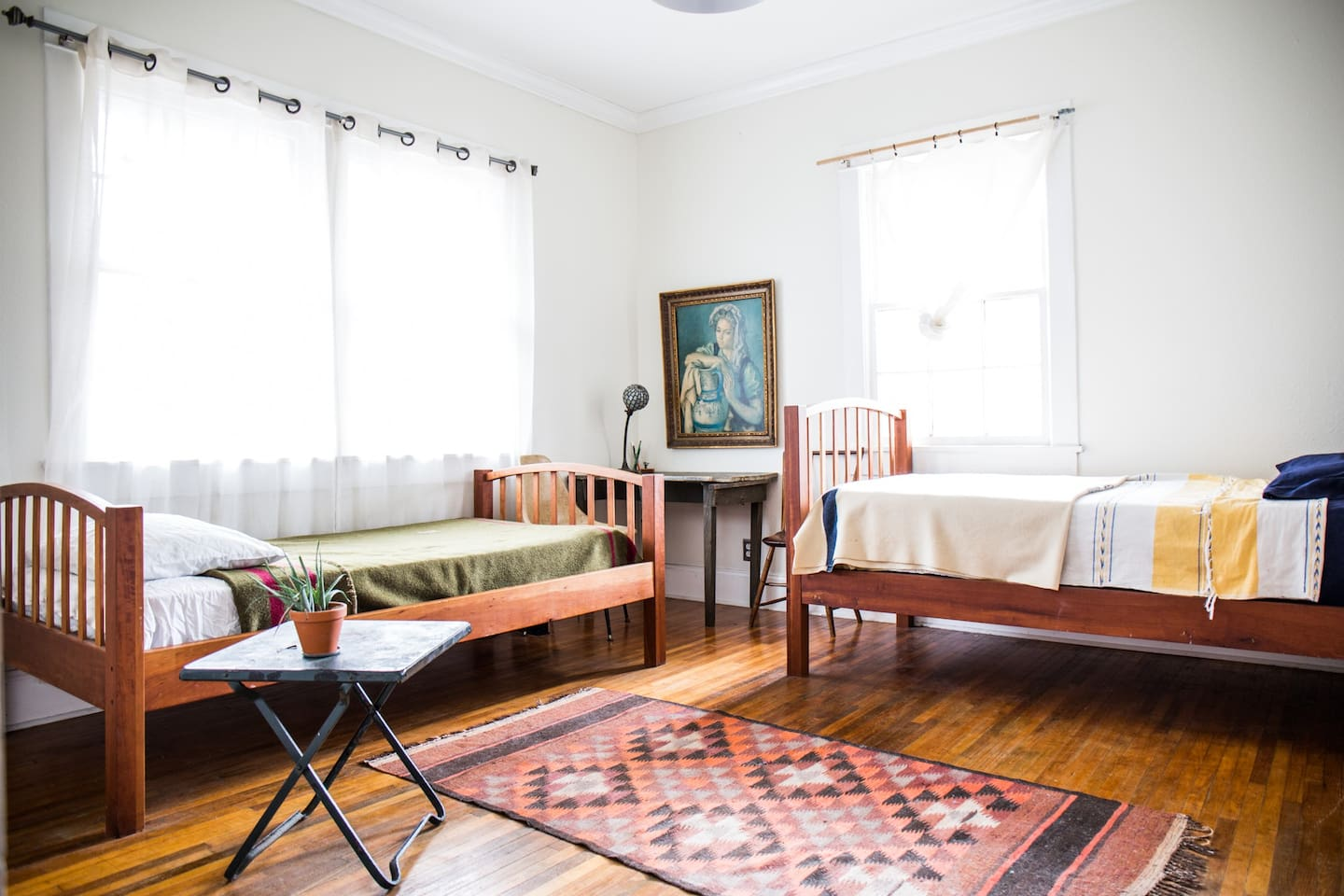 Front bedroom with handmade beds, great for kids.
