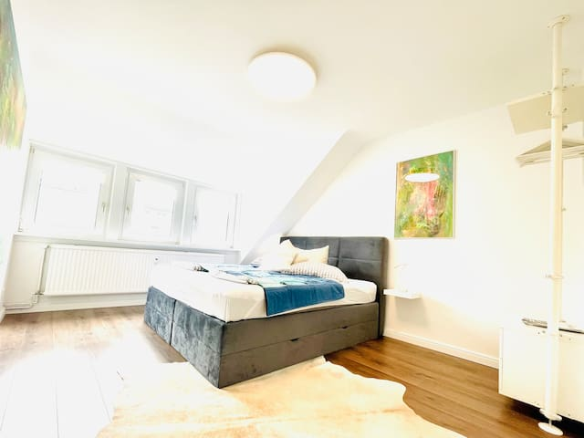Big master bedroom facing south with very comfortable brand new kingsize double box spring bed and some collectible art. Big heavy curtains blind out the day light for light sleeper. It's a very quiet street and house with respectful neighbours.