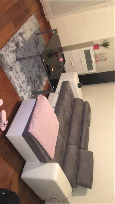 Salon spacieux canapé convertible télé et wifi inclus