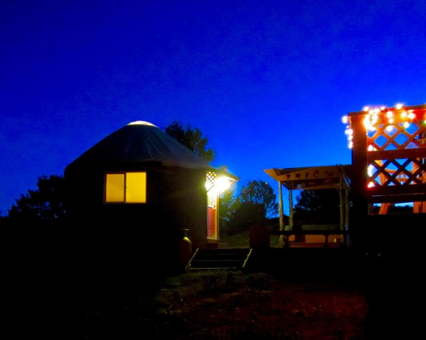 Lingering late-spring twilight at the Studio Yurt