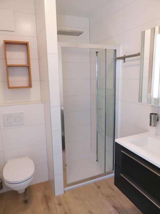 Salle de bain avec douche cascade
