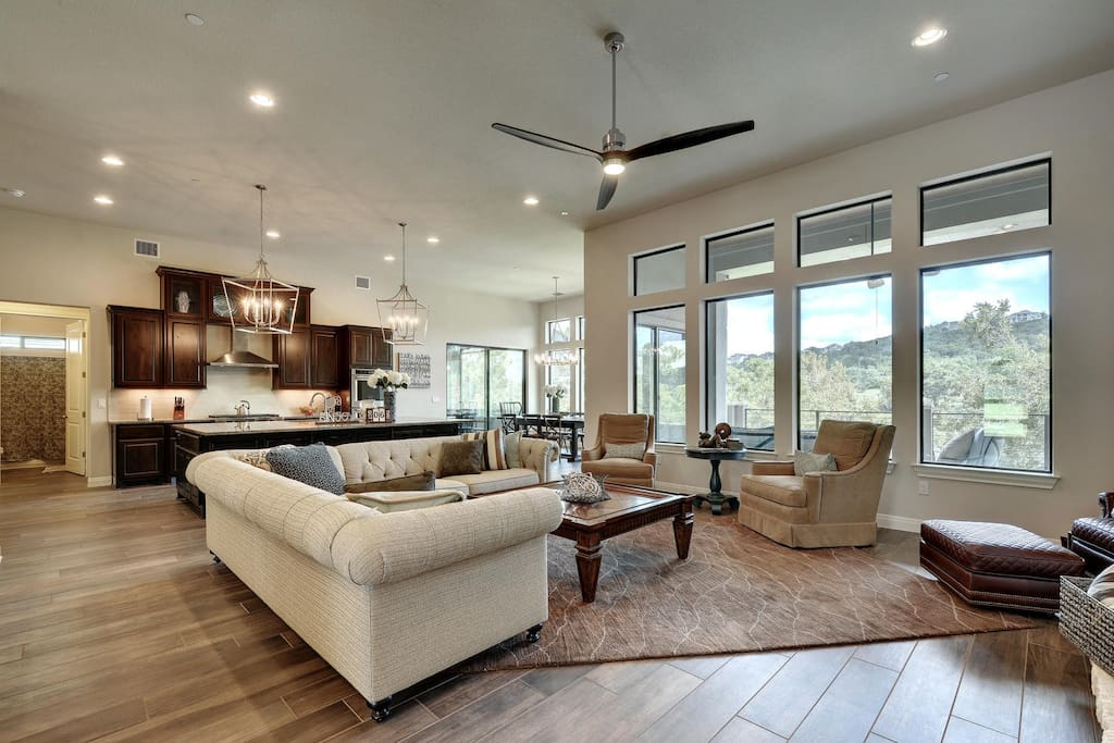 Enjoy expansive lake views from the open living room