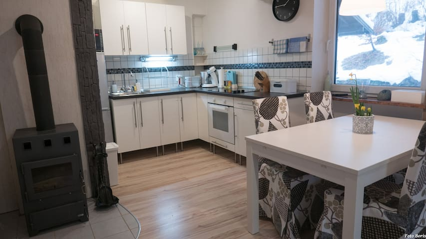 Kitchen, fireplace, dining table
