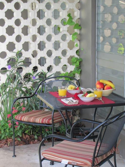Enjoy breakfast next to the pool
