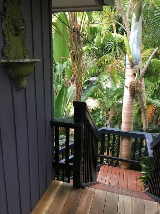 Treehouse veranda and stairs