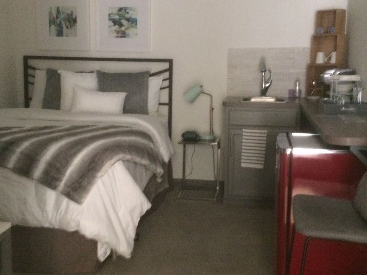 Contemporary and fun, bedroom with Kitchenette, full bathroom and more!