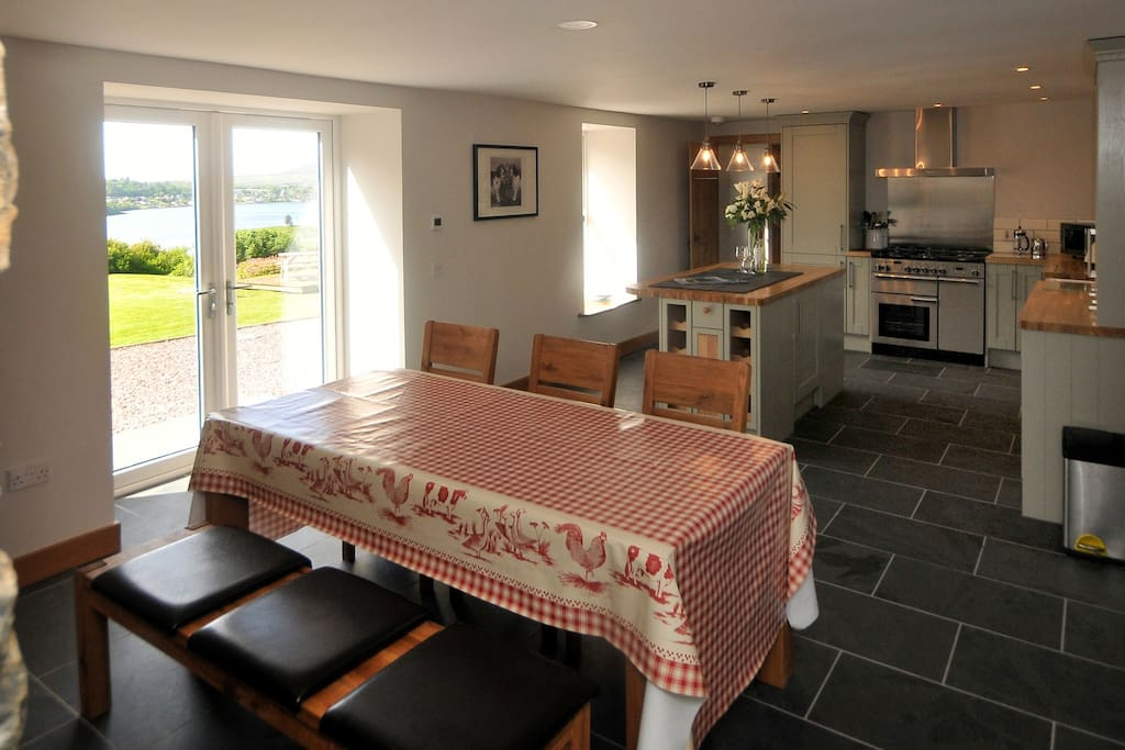 Dining area with open views over Portree Bay
