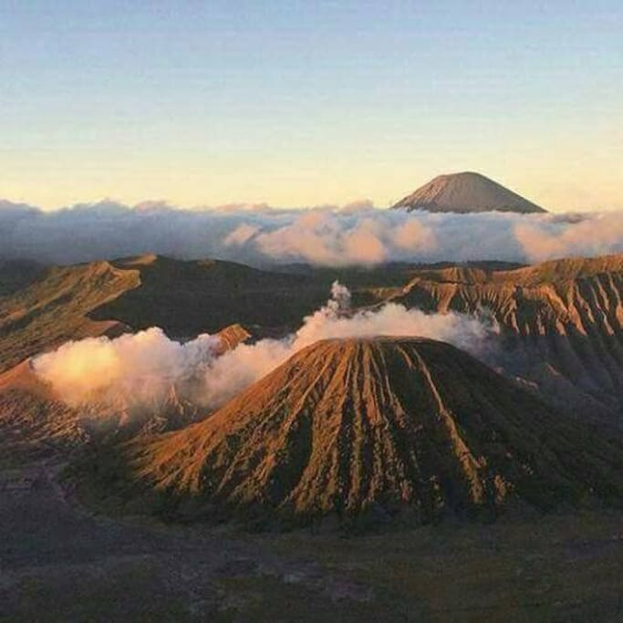 View of Mt. Bromo when have smoke