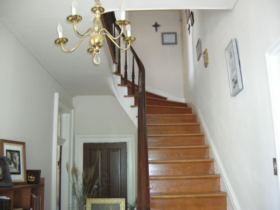 Room is at the top of the stairs
